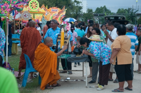 YALA, THAILAND - OCTOBER 31: Unidentified monk bless for buddhism people to give donation for temple in Buddhist day