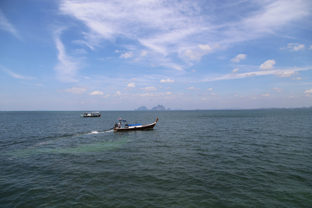 Long Tail Boat in andaman Sea - Trang, Thailand Stock Photo