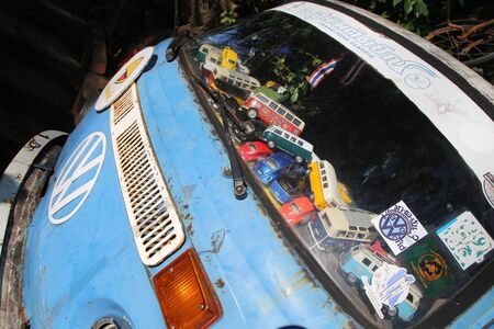 vw: Trang, Thailand - January 9, 2016: Volkswagen Van and mini toy van inside. Volkswagen shortened to VW is a German automaker founded in 4 January 1937.