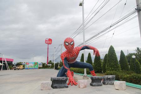 marvel: Petchaburi, Thailand - September 1, 2016: Spiderman Statue. Spiderman is famous marvel comic hero. This Spiderman statue is locate at Mae Kim Lung dessert shop in Petchaburi, Thailand. Editorial