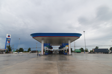 lpg: Petchaburi, Thailand - September 1, 2016: Petroleum Authority of Thailand Oil Station is one of the most popular oil station in Thailand which sale many oil and lpg gas in every provinces of Thailand.