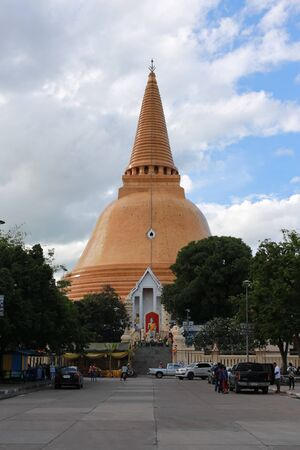 Nakhon Pathom, Thailand - September 3, 2016: Phra Pathom Chedi is the tallest stupa in the world (120.5 metres) The name Phra Pathommachedi means the first holy stupa.