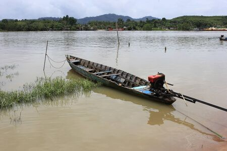 Long tail boat in the river of Kantang in Trang, Thailand Stock Photo