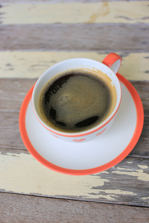 Fresh espresso Coffee cup on wooden table Stock Photo