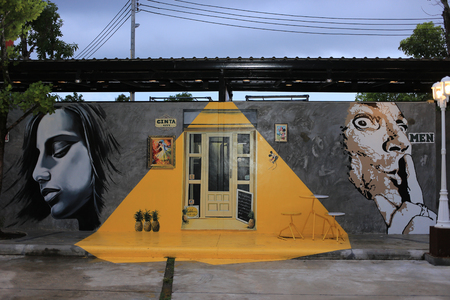 cinta: Trang, Thailand - September 5, 2016: 3D Painting on the restroom wall of Cinta Garden. The container style walking street market. Cinta Garden is a new interesting walking street market in Trang.