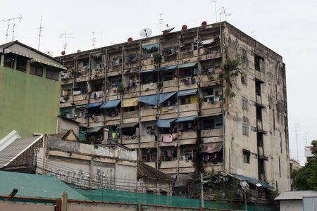 satelite: old apartment terrace in Bangkok, Thailand Stock Photo