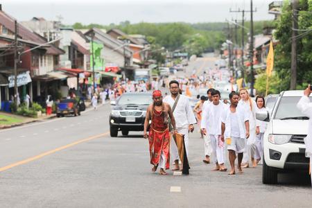 yaw: Trang, Thailand - October 7, 2016 : Guan Yu deity Spiritual Medium of Tai-Sia-Hood-Cho Trang on The Street Procession at Toong Yaw - Palian during Vegetarian Festival in Thailand