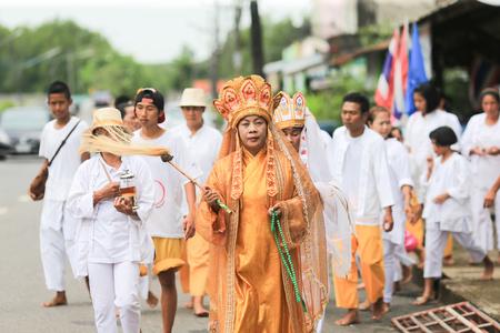 yaw: Trang, Thailand - October 7, 2016 : Quan Yin Spiritual Medium of Tai-Sia-Hood-Cho Trang on The Street Procession at Toong Yaw - Palian during Vegetarian Festival in Thailand