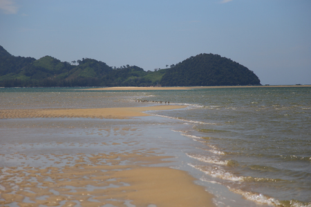 Beach appear when water down at Mod Tanoy Beach in Kantang of Trang Thailand Stock Photo