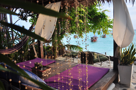 Seaview from bed near the beach at koh lipeh in Trang Thailand