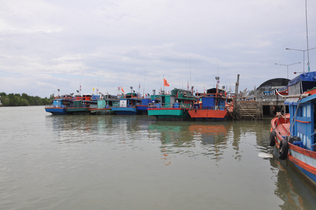speedboats: Satun, Thailand - December 16, 2014: Many Ship Park at Pak Bara pier. Pak Bara pier is the main pier for reaching Koh Lipe, speedboats run all year.