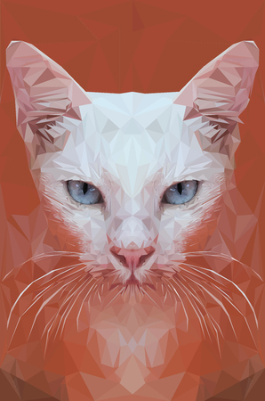 Low polygon poratrait of white cat, pet crystal design Illustration