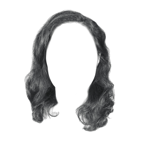 black curve hair isolated on white