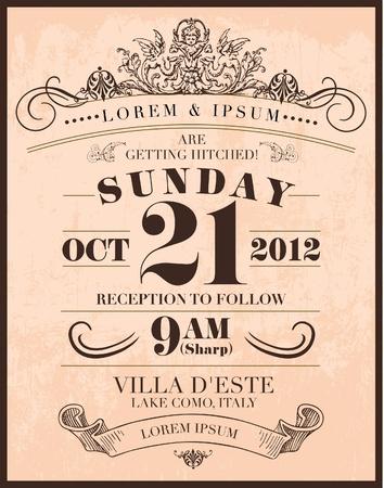 venue: nozze invito carta di template illustrazione vettoriale