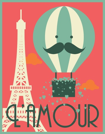 vintage paris: hot air balloon eiffel tower graphic template vector illustration