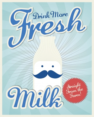 milk mustache: vintage milk poster template vector illustration
