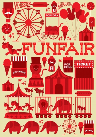 fairground: fun fair template vector illustration