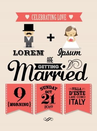 wedding invitation card template vector illustration Vector