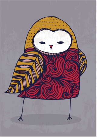 nocturnal: owl hand drawing illustration vector