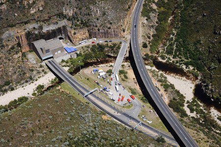 National road from Johannesburg tunnel through the mountain at worcester to Paarl, Stellenbosch and Cape Town