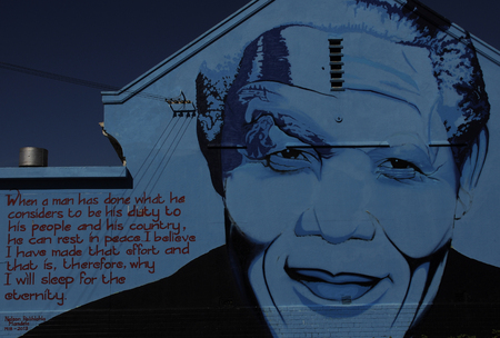 steet art in Cape town of South African Icon Nelson Mandela-