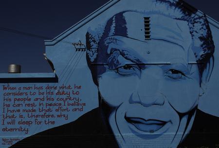 mandela: steet art in Cape town of South African Icon Nelson Mandela-