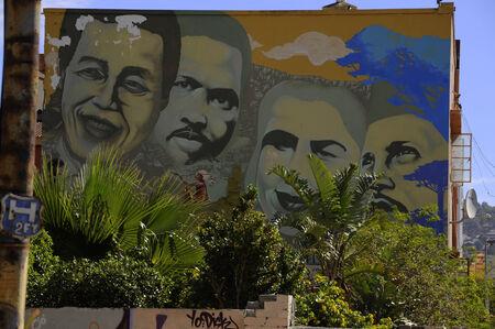 steet art in Cape town of South African Icons - Nelson Mandela, Steve Biko; Cissie Gool; Imam Haron