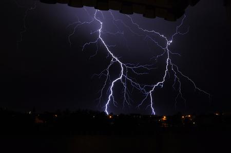 Branch Lightning in suburbia Stock Photo