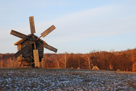 pirogovo: Antique ramshackle wooden windmill, Pirogovo, Kiev, Ukraine