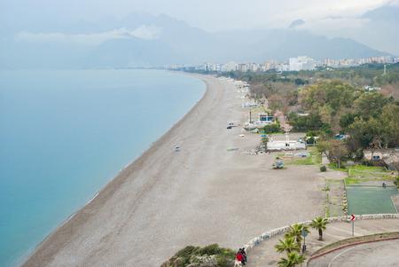 View of the empty beach of Konyaalti. Antalya, Turkey