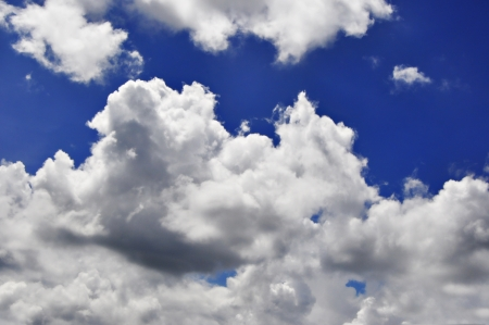 cloudy sky with heart shape blue hole photo