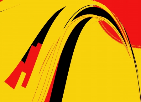 Retro Black, Yellow and Red Abstract Art Deco