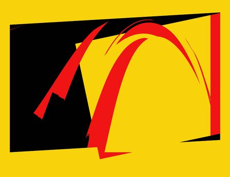 Black, Yellow and Red Retro Abstract Art Deco photo