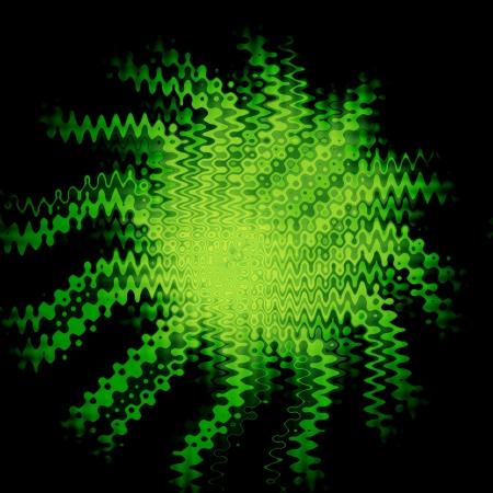 retros: Green Floral Wave Fantasy Art Design Abstract