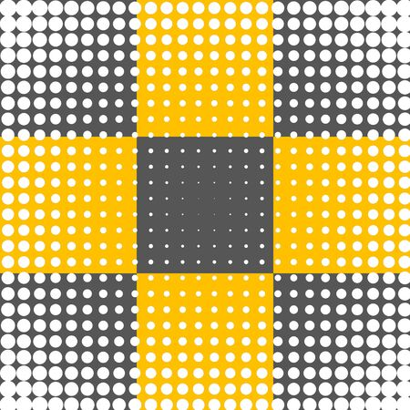 damasks: White Polka Dots Over Black and Yellow Art Design Abstract