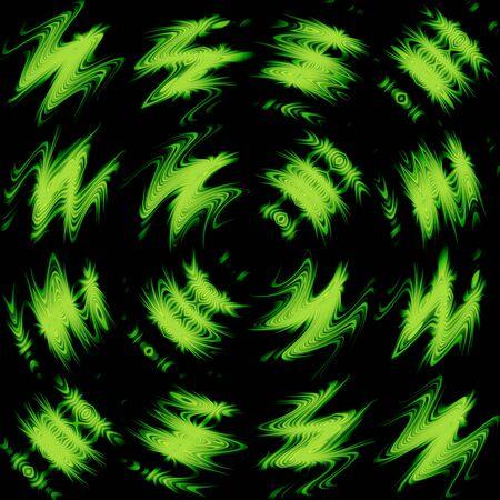 retros: Green Wave Fantasy Over Black Art Design Abstract Stock Photo