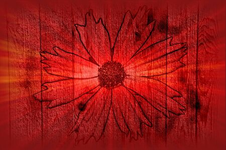 retros: Red Fantasy Flower Over Wood Art Design Abstract