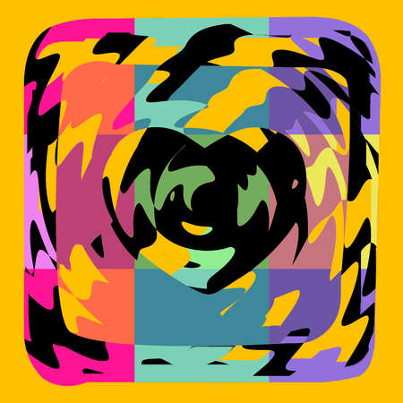 damasks: Colorful Heart Funky Vintage Art Design Abstract