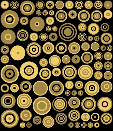 Yellow, Black Retro Circles Abstract Art Background Stock Photo