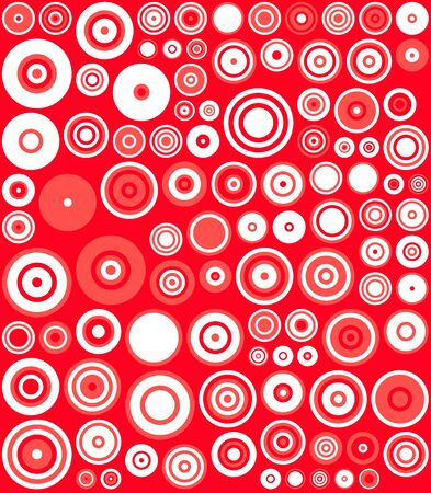 Red, White Retro Circles Abstract Art Background photo