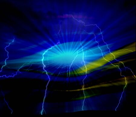 abstract background blue with ray sunlight and lightning photo