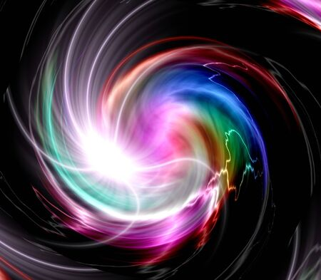 Colorful lights swirl abstract over black background photo