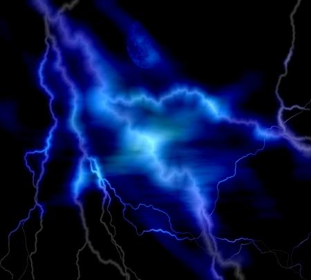 藍色閃電在黑色背景