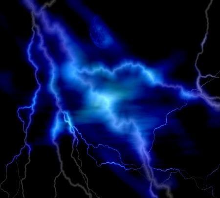 powerful creativity: blue lightning over black background