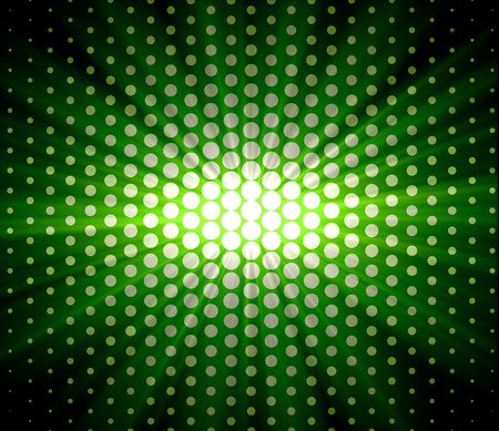 Bright abstract green lights over polka dot background photo