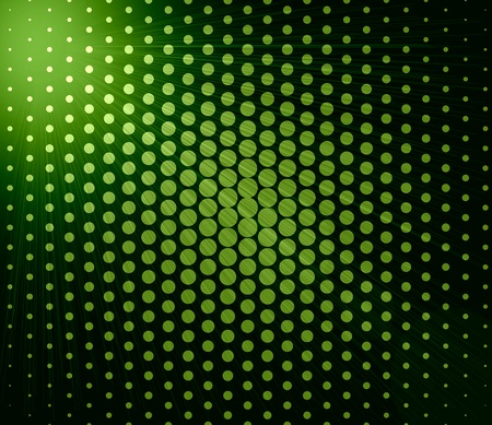 Bright abstract green lights over polka dot background