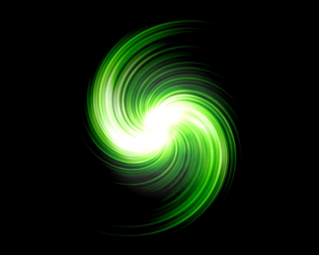Green Light Swirl Over Black Background photo