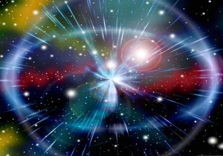 Abstraction galaxy light with lens flare photo