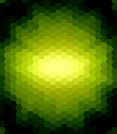 綠色六角抽象的黑色背景