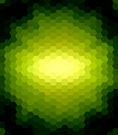 Green Hexagon Abstract over Black Background